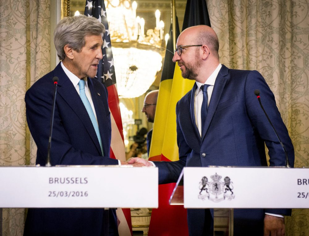 U.S. Secretary of State John Kerry shakes hands with Belgian Prime Minister Charles Michel during a meeting in Brussels on March 25, 2016. (Laurie Dieffembacq/AFP/Getty Images)