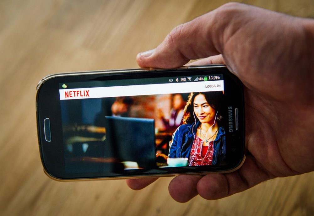 This file photo shows the on-demand Internet media provider, Netflix, streaming on a smartphone. (Jonathan Nackstrand/AFP/Getty Images)