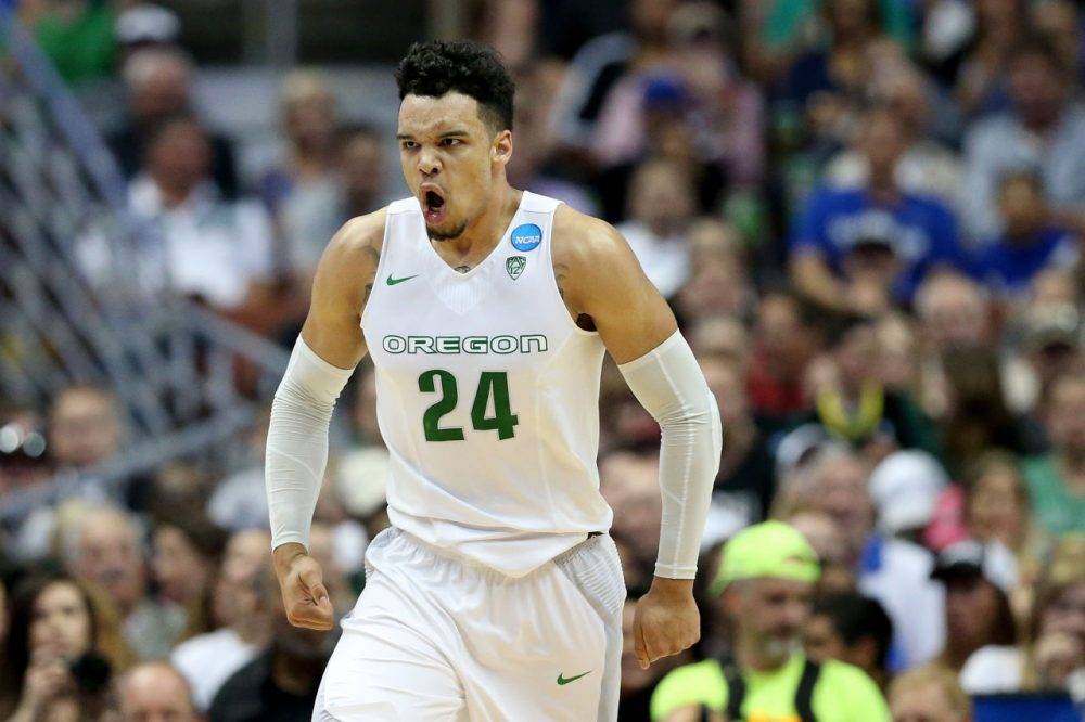 After his team beat Duke by 14 points in the Sweet 16, Dillon Brooks says Mike Krzyzewski complained about his showboating.  (Sean M. Haffey/Getty Images)