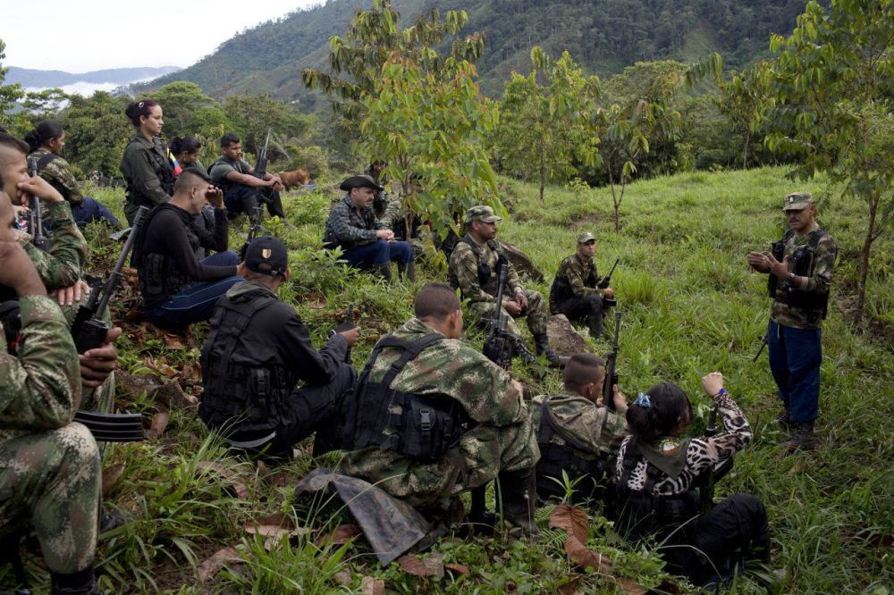 In this Jan. 3, 2016 photo, Leonidas, a commander of the 36th Front of the Revolutionary Armed Forces of Colombia, or FARC, speaks to rebels at their temporary camp in Antioquia state, in the northwest Andes of Colombia. Now peace is within reach as talks between the guerrillas and the government near conclusion in Cuba, and for the first time the rebels are thinking about a future outside this jungle hideout. (AP Photo/Rodrigo Abd)