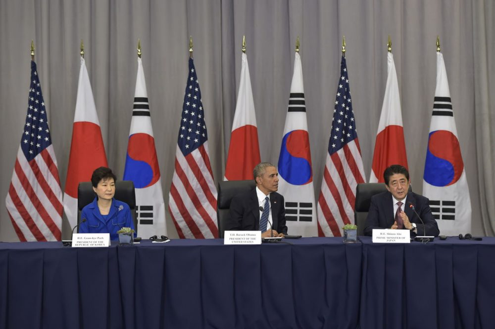U.S. President Barack Obama takes part in a trilateral meeting with Japan's Prime Minister Shinzo Abe and South Korea's President Park Geun-Hye on the sidelines of the Nuclear Security Summit at the Walter E. Washington Convention Center on March 31, 2016 in Washington, D.C.  (Mandel Ngan/AFP/Getty Images)