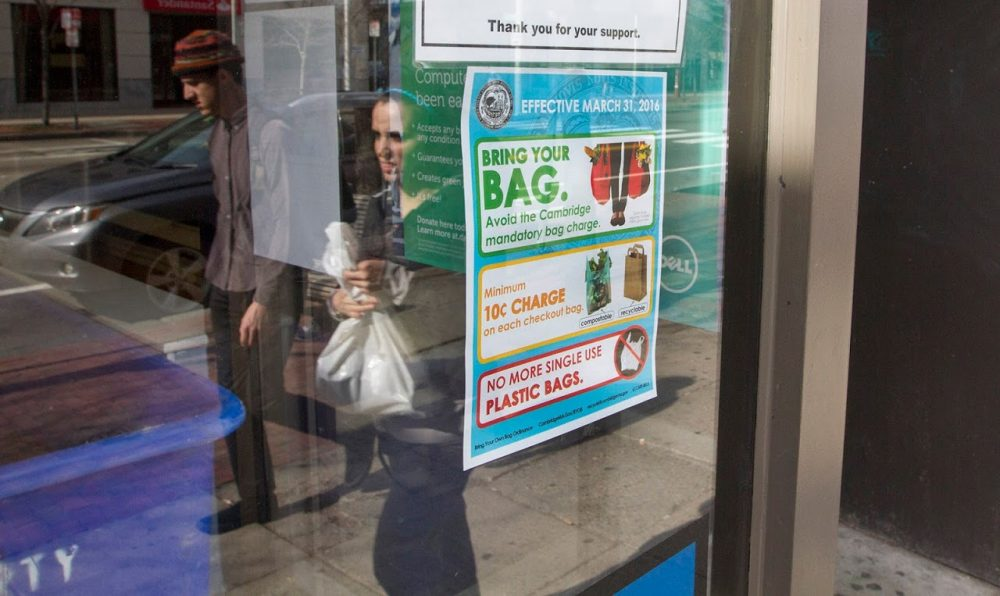 Under the 'Bring Your Own Bag' ordinance, the city of Cambridge has banned single-use plastic bags. Boston will do the same come fall 2018. (Joe Difazio for WBUR)