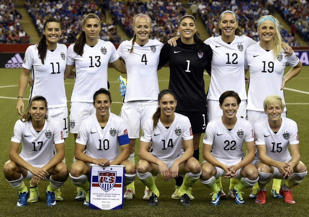 Top row from left: USA defender Ali Krieger, forward Alex Morgan, defender Becky Sauerbrunn, goalkeeper Hope Solo, midfielder Lauren Holiday and defender Julie Johnston. Bottom row from left:  USA midfielder Tobin Heath, midfielder Carli Lloyd, midfielder Morgan Brian, defender Meghan Klingenberg and midfielder Megan Rapinoe pose during the semi-final football match between USA and Germany during their 2015 FIFA Women's World Cup at the Olympic Stadium in Montreal on June 30, 2015. USA won 2-0. (Franck Fife/AFP/Getty Images)