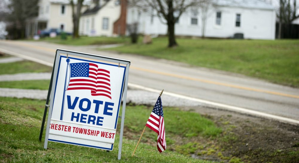 With the campaign craziness at full boil, people are struggling to figure out who to vote for and how to avoid arguments. In this photo, a sign is posted outside a polling place during a primary election Tuesday, March 15, 2016, in Chesterville, Ohio. (Matt Rourke/AP)