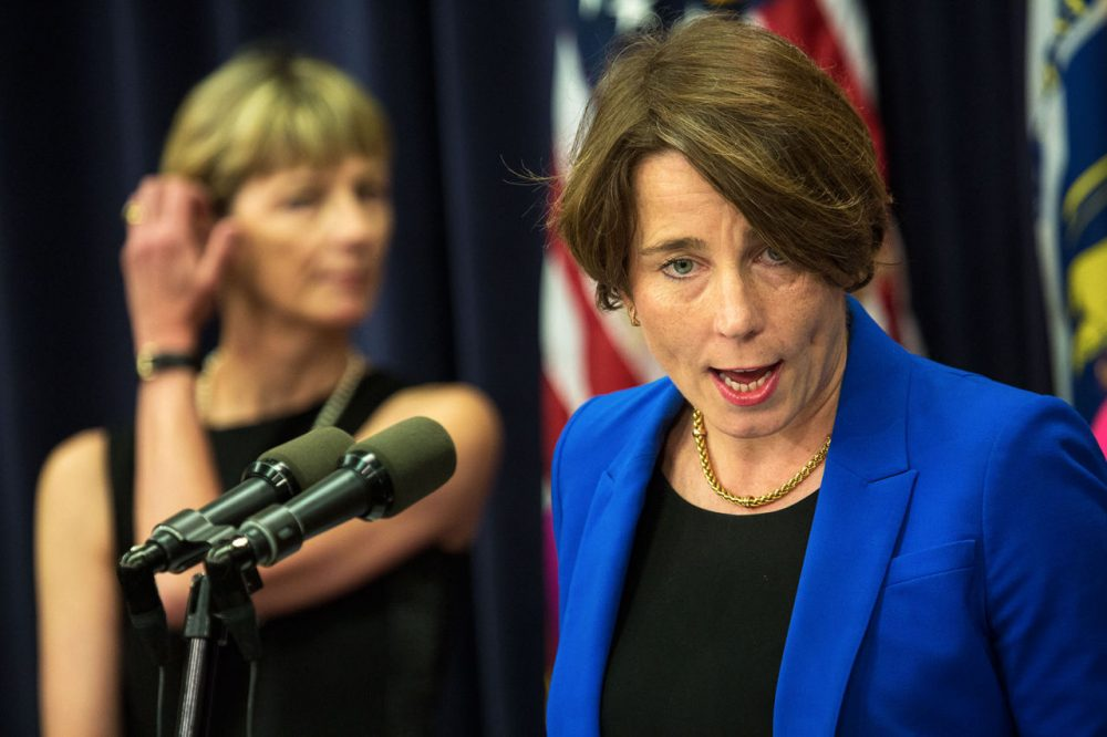 Attorney General Maura Healey speaks during a press conference at the State House in 2015. (Jesse Costa/WBUR)