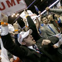 "Steve Almond: ""What scares me about all this isn't just that the Presidential front-runner of the Republican Party appears eager to foment civil unrest, but that the networks are so desperate for ratings that they've become his de facto enablers."" Pictured: Supporters of Republican presidential candidate Donald Trump, left, face off with protesters after a rally on the campus of the University of Illinois-Chicago was cancelled due to security concerns Friday, March 11, 2016, in Chicago. (Charles Rex Arbogast/AP)"