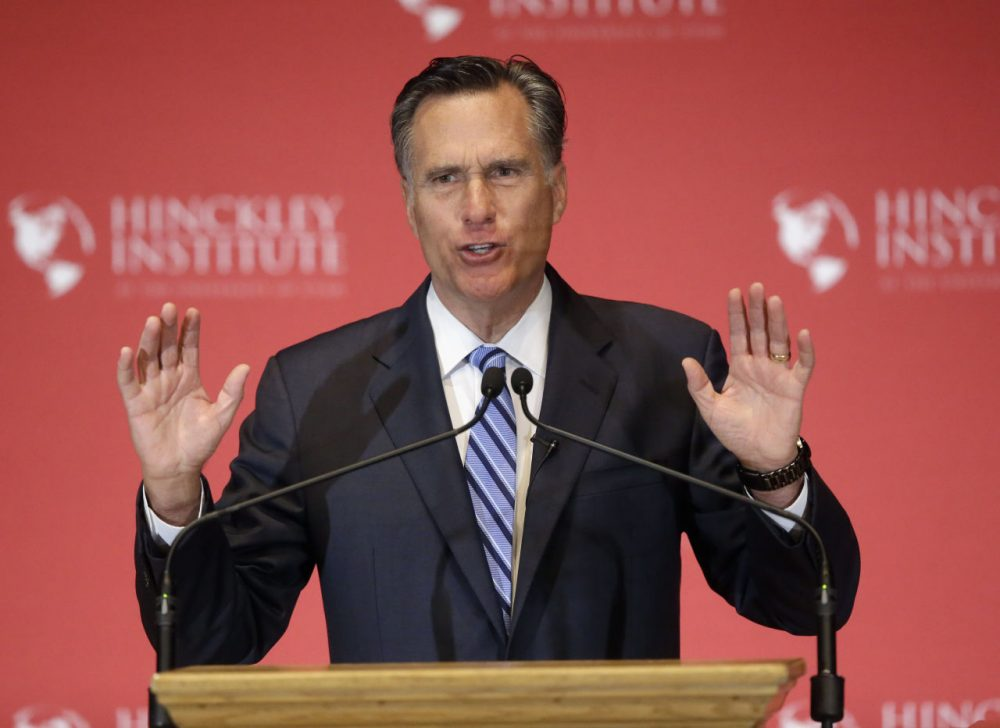 Former Republican presidential candidate Mitt Romney weighs in on the Republican presidential race during a speech at the University of Utah, Thursday. (Rick Bowmer/AP)