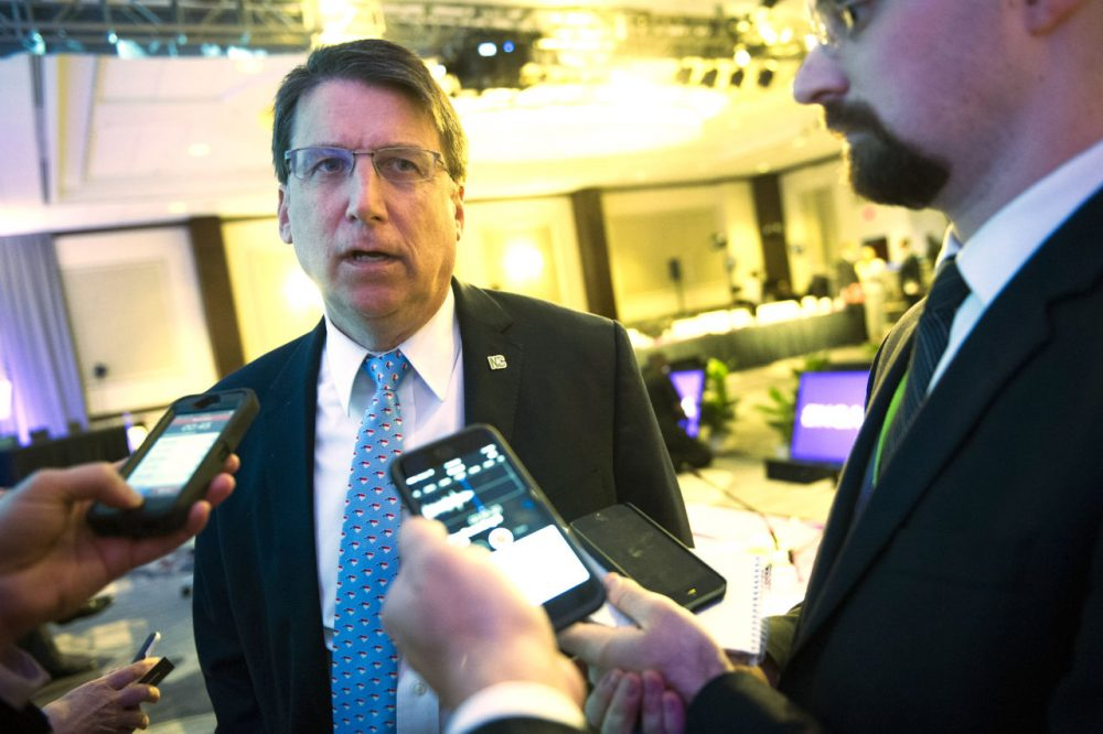 North Carolina Gov. Pat McCrory, seen here on Feb. 20, has signed into law a bill blocking anti-discrimination rules that would protect gay and transgender people. (Cliff Owen/AP)
