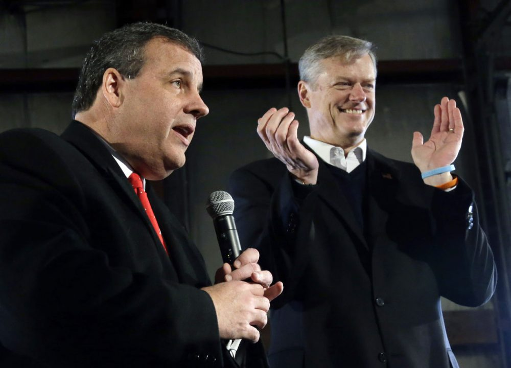 Gov. Charlie Baker at a campaign event with New Jersey Gov. Chris Christie in New Hampshire in February, when Christie was still running for president. (Elise Amendola/AP)