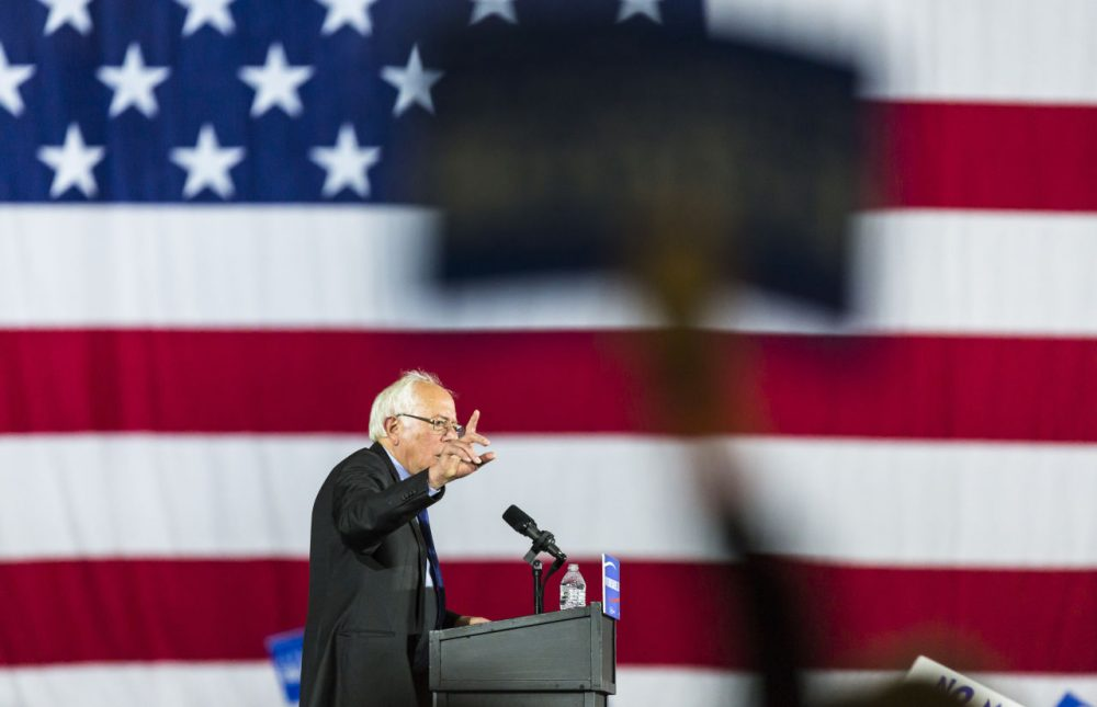 Democratic presidential candidate Bernie Sanders speaks at a campaign stop Saturday in Madison, Wisconsin. (Andy Manis/AP)