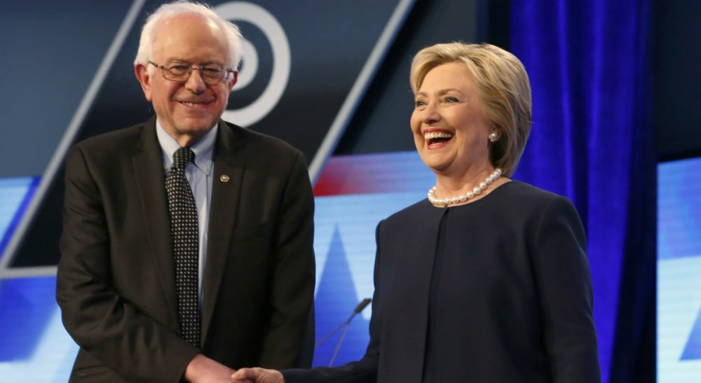 "Josh Davis: ""It's time to acknowledge that he is unlikely to win the nomination, and it is time for Bernie to do exactly what Hillary is going to do this morning -- pivot the campaign so that Donald Trump is the principal opponent."" Pictured: Democratic presidential candidates, Hillary Clinton and Sen. Bernie Sanders, I-Vt, shake hands before the start of the Democratic presidential debate at Miami-Dade College, Wednesday, March 9, 2016, in Miami, Fla. (Wilfredo Lee/AP)"