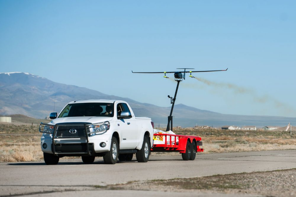 Drone America's Savant UAS is mounted with silver iodide flares in preparation for a joint cloud seeding test with the Desert Research Institute (DRI) in Fernley, Nevada, on Friday, March 18, 2016. (Kevin Clifford/Drone America)