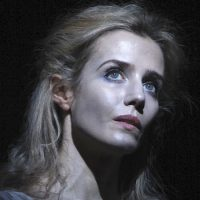 Lisa Dwan, in a trilogy of plays by Samuel Beckett at ArtsEmerson. (Courtesy John Haynes/ArtsEmerson)