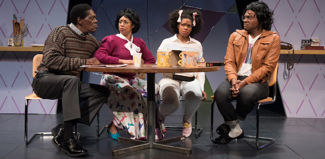 "(L-R) Johnny Lee Davenport, Jackie Davis, Tiffany Nichole Greene and Maurice Emmanuel Parent in ""Bootycandy."" (Courtesy Glenn Perry Photography/SpeakEasy Stage Company"