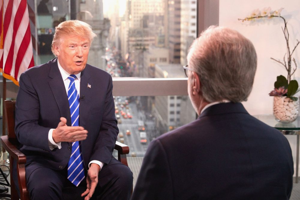 Republican Presidential Candidate Donald Trump interviewed by journalist Wolf Blitzer for The Situation Room on CNN on January 6, 2016 in New York City.  (Regine Mahaux/Getty Images)
