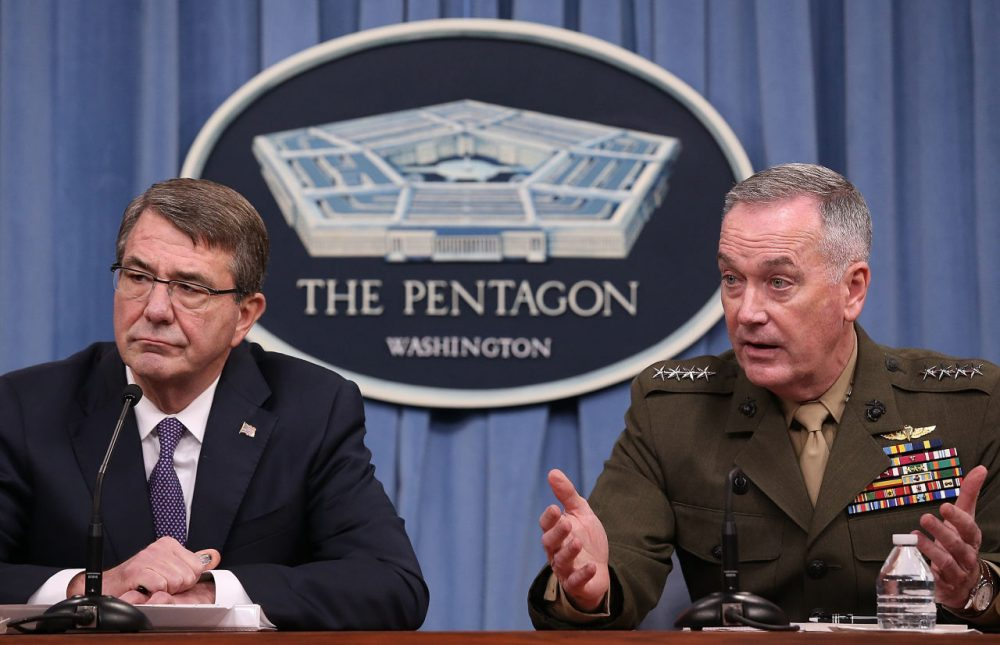 U.S. Secretary of Defense Ash Carter and Chairman of the Joint Chiefs of Staff Gen. Joseph Dunford confirmed reports on Friday that the U.S. successfully targeted ISIS leader Haji Imam in a recent attack and described him as the group's finance minister.  (Win McNamee/Getty Images)