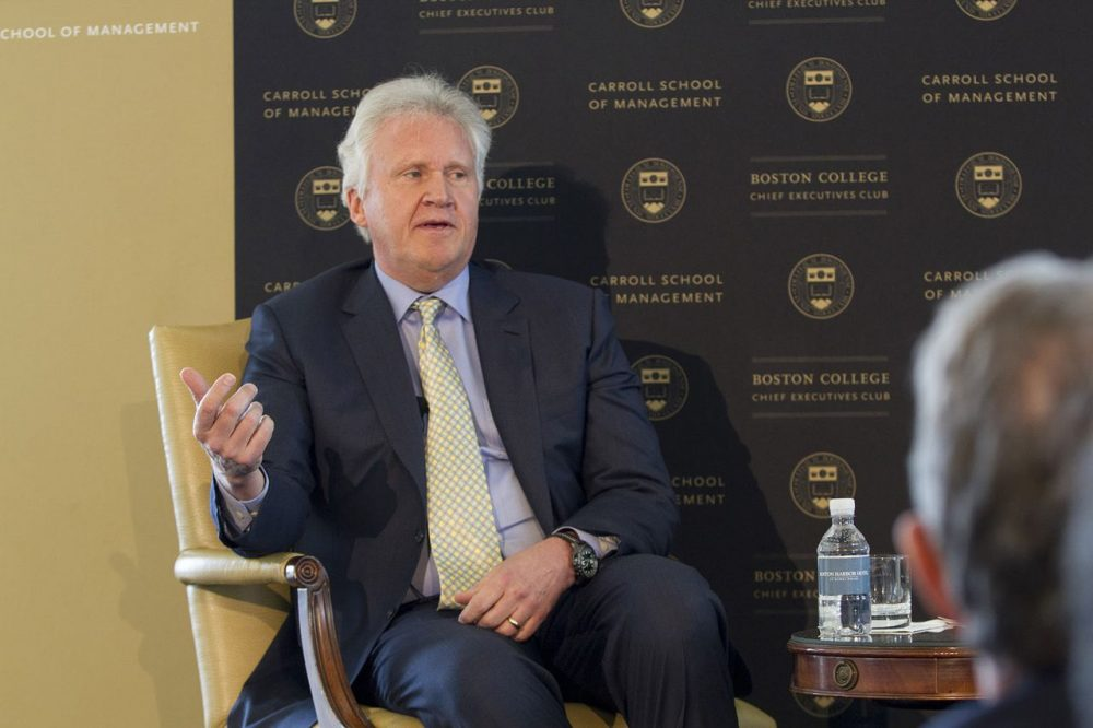 Jeffrey Immelt, CEO of General Electric, speaks at the Boston Harbor Hotel during a welcome luncheon on Thursday. (Joe Difazio for WBUR)