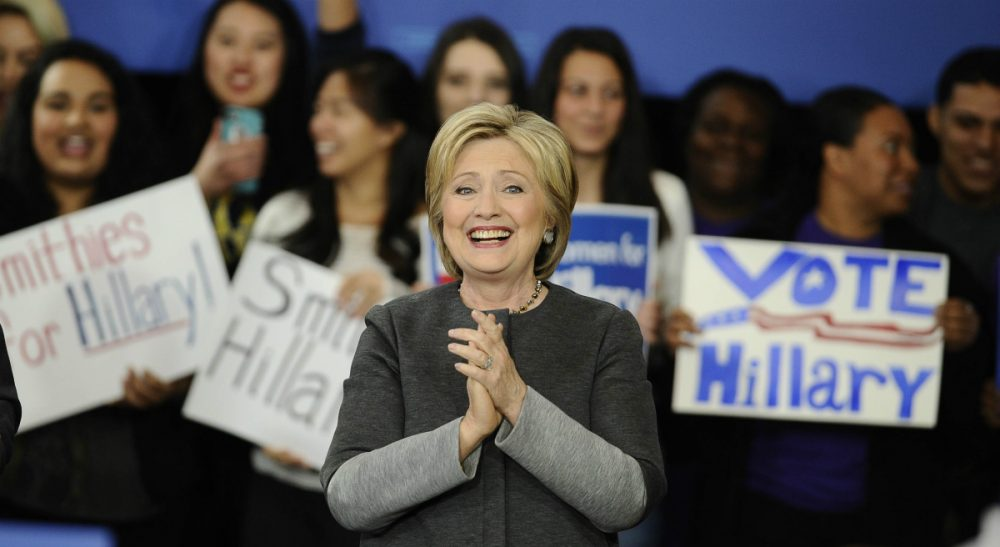 Democratic presidential candidate Hillary Clinton speaks at a campaign event, Monday in Springfield, Mass. On Tuesday, Clinton narrowly defeated Vermont Sen. Bernie Sanders in the Massachusetts primary. (Jessica Hill/AP)