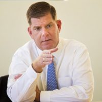 Boston Mayor Marty Walsh speaking at the WBUR studios October 14, 2015 (Jesse Costa/WBUR)
