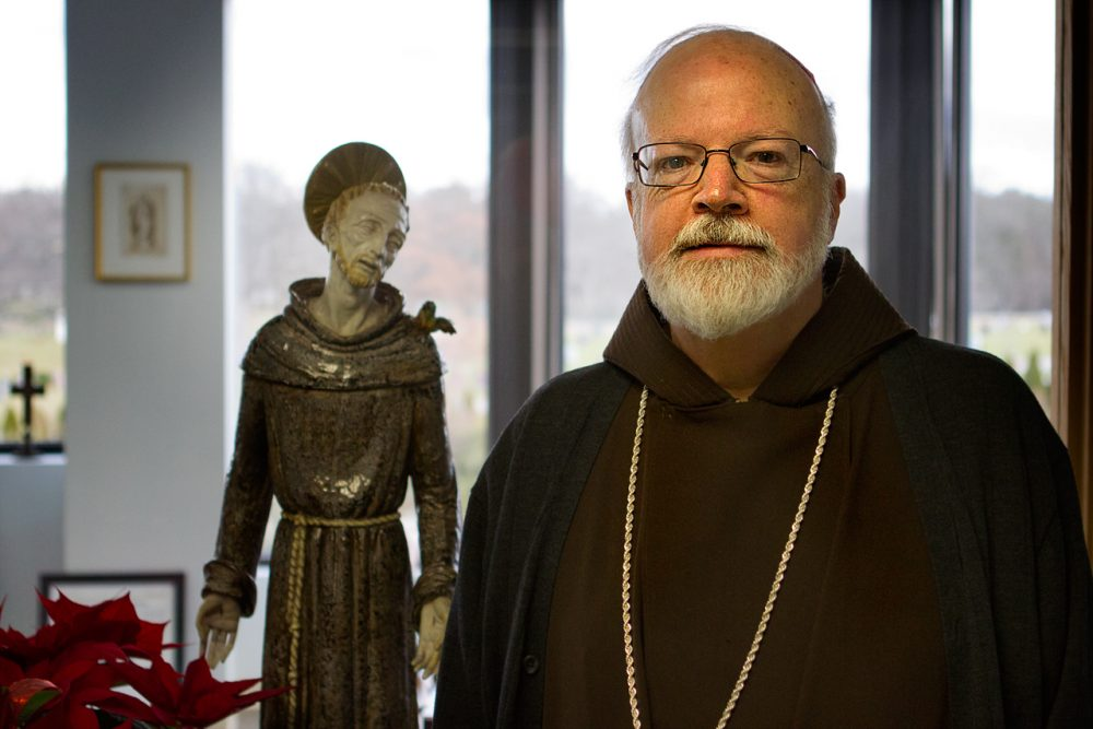 Cardinal Sean O'Malley at the archdiocese offices in Braintree. (Jesse Costa/WBUR)