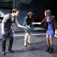 """Lin-Ann Ching Kocar, Theresa Nguyen and Tyler Simahk during a scene in """"Fast Company."""" (Courtesy of Mark S. Howard/Lyric Stage Company of Boston)"""