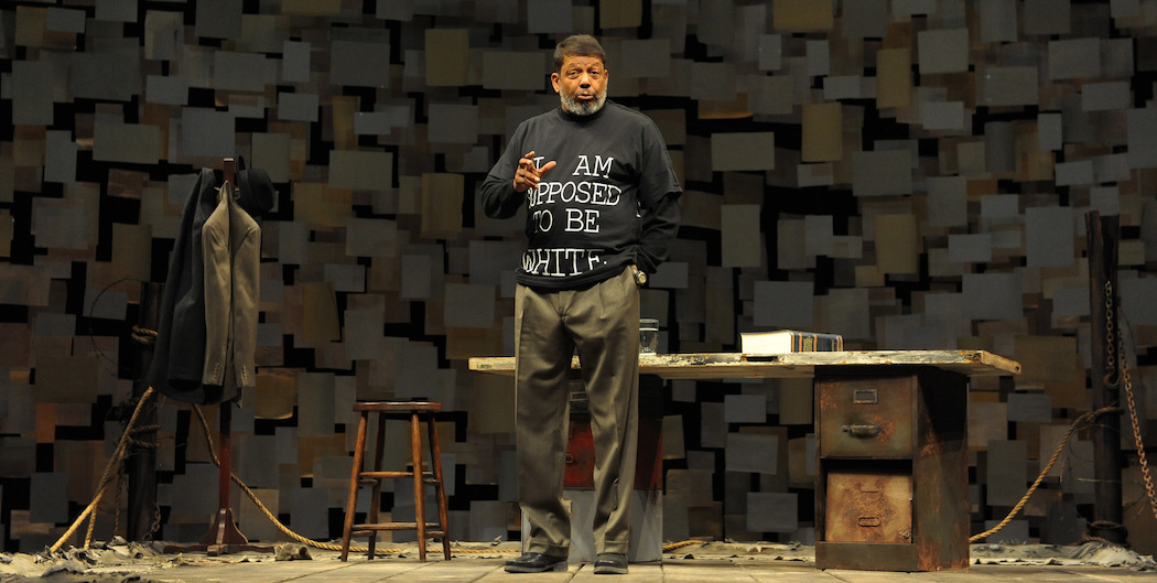 "Eugene Lee as the playwright in ""How I Learned What I Learned."" (Courtesy Josh Lamkin Photography/ Huntingon Theatre Company)"