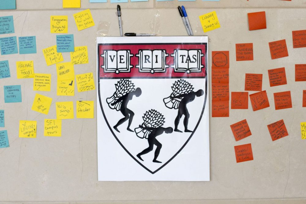 Harvard Law School is changing their controversial seal. This mock seal was created by students in protest of the seal. (Joe Difazio for WBUR)