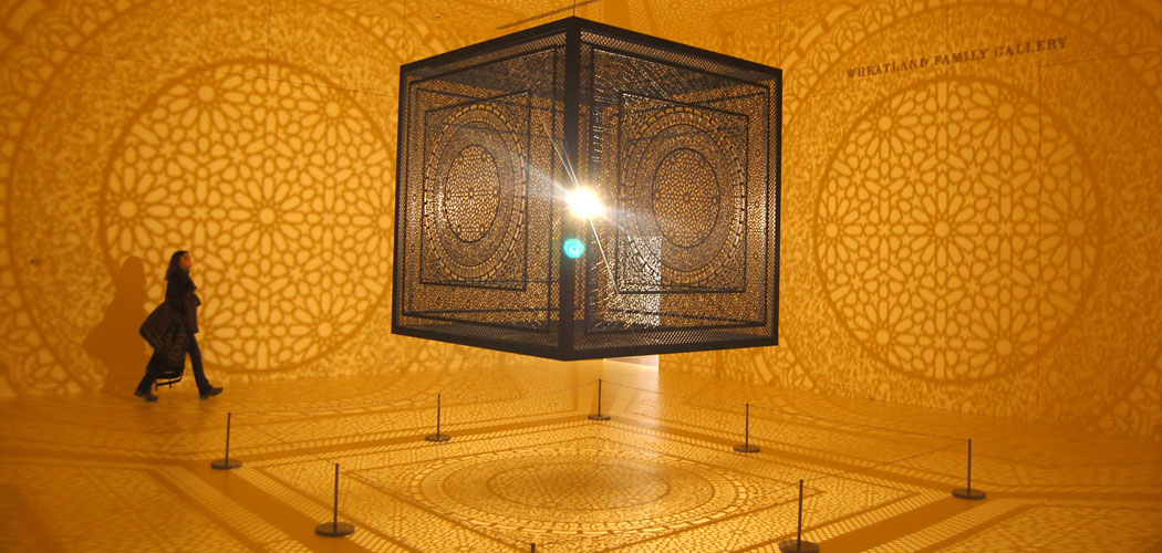 """Anila Quayyum Agha's """"Intersections"""" at the Peabody Essex Museum in Salem. (Greg Cook)"""