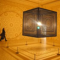 "Anila Quayyum Agha's ""Intersections"" at the Peabody Essex Museum in Salem. (Greg Cook)"
