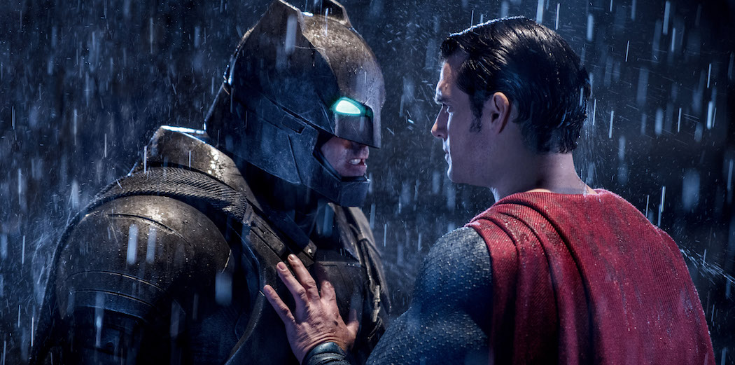 "Ben Affleck as Batman and Henry Cavill as Superman in ""Batman v Superman: Dawn of Justice."" (Courtesy Warner Bros. Pictures and DC Comics)"