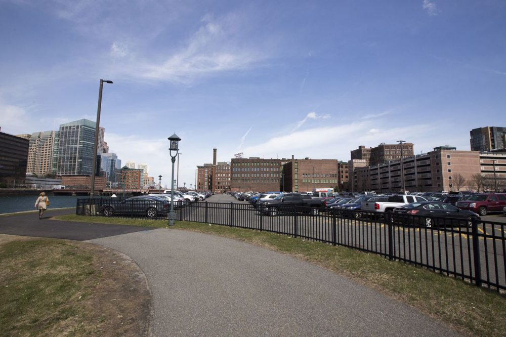 General Electric will move to a 2.5-acre site in Fort Point that includes two older brick buildings and a portion of a parking lot. (Joe Difazio for WBUR)