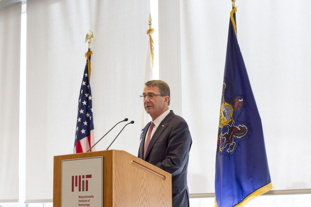 Secretary of Defense Ash Carter at an event for the Revolutionary Fibers and Textiles Manufacturing Innovation Institute at MIT (Joe Difazio for WBUR)