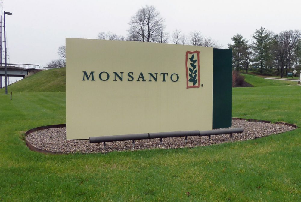The entrance sign is seen at the headquarters of Monsanto, at Creve Coeur (St. Louis), Missouri, on April 7, 2014.  Monsanto is the world's largest seed supplier. (Juliette Michel/AFP/Getty Images)