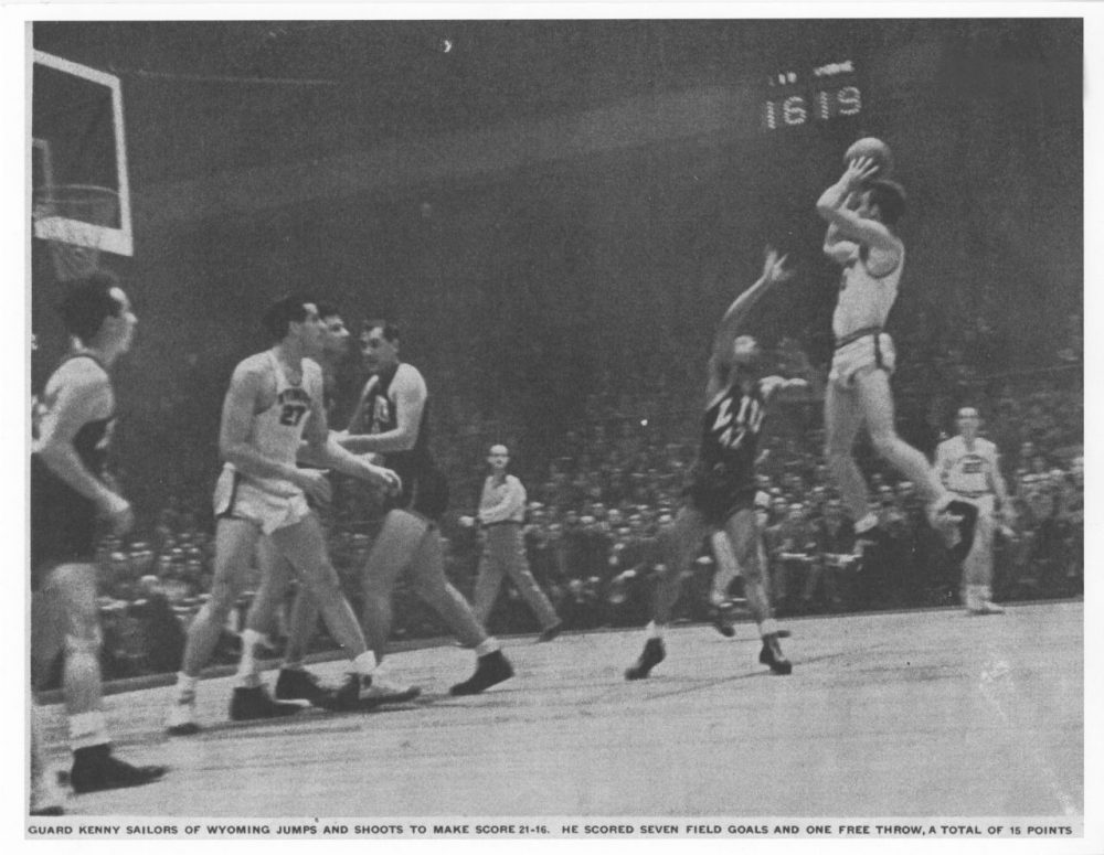 This photo of Kenny Sailors' jump shot (and one very confused defender) landed in Life magazine in January of 1946. (Kenny Sailors Collection/American Heritage Center/University of Wyoming)
