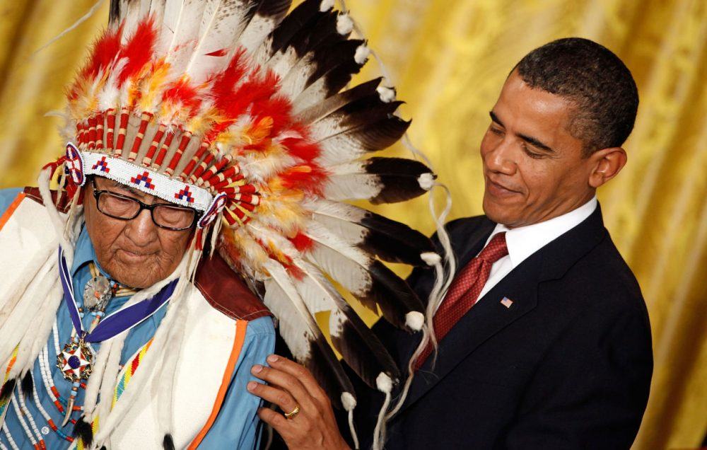 U.S. President Barack Obama presents the Medal of Freedom to Crow War Chief Dr. Joseph Medicine Crow High Bird during a ceremony in the East Room of the White House August 12, 2009.  (Chip Somodevilla/Getty Images)