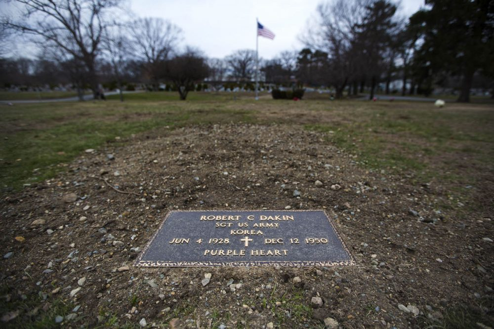 The remains of Sgt. Robert C. Dakin were found in North Korea several years ago but were just recently buried this past December. Here's his gravesite at Mt. Feake Cemetery in Waltham. (Jesse Costa/WBUR)