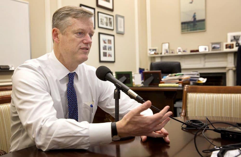 Gov. Charlie Baker speaks to WBUR in his State House office in December. (Robin Lubbock/WBUR)