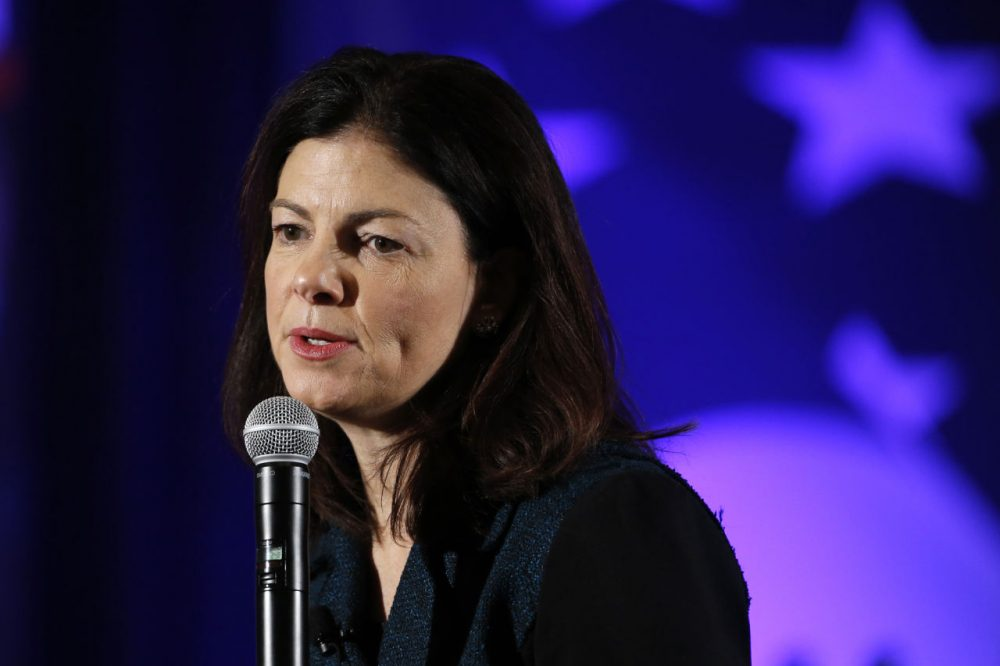 Sen. Kelly Ayotte, R-N.H., speaks Saturday, Jan. 23, 2016, at the New Hampshire Republican State Committee town hall in Nashua, N.H. (AP Photo/Matt Rourke)