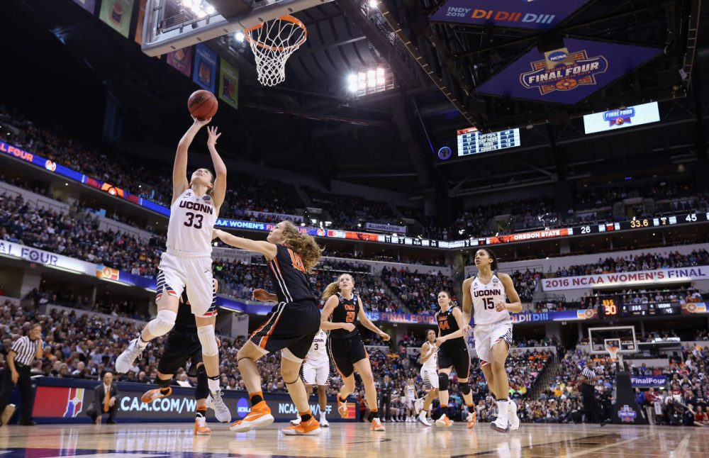 The UConn women's basketball team defeated Oregon paving their way to a record: the first women's basketball team in NCAA history to win four national titles in a row. They play Syracuse tonight. (Andy Lyons/Getty Images)