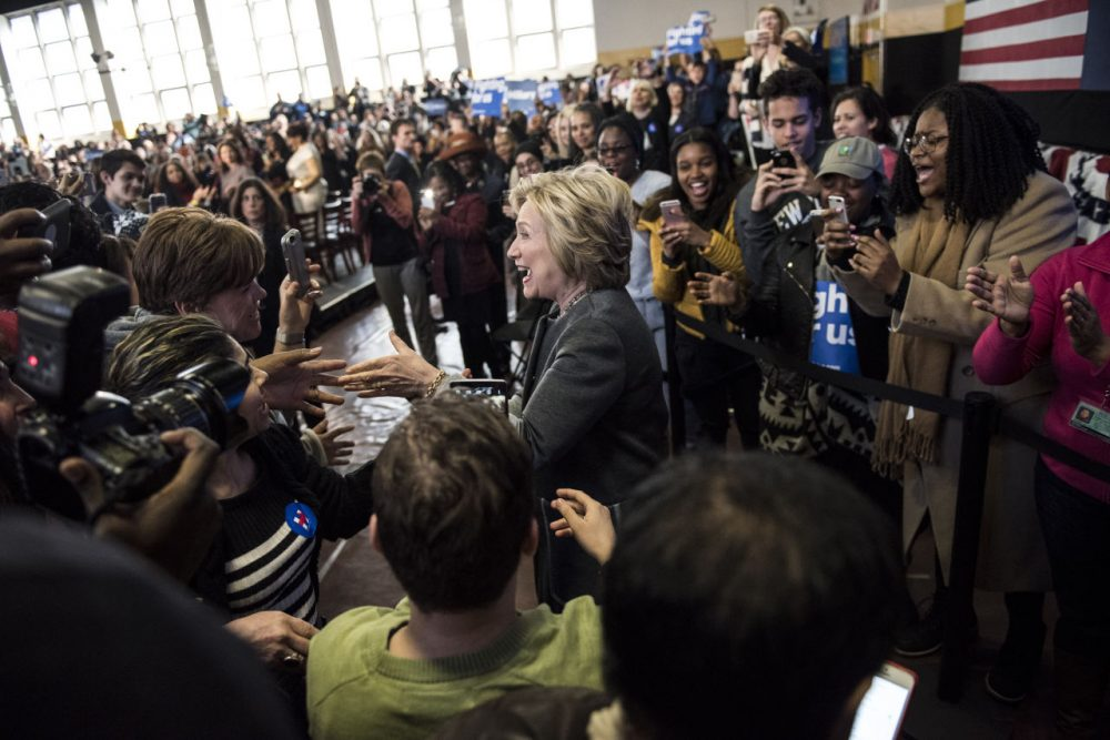 Democratic presidential candidate Hillary Clinton greets the crowd following a Women for Hillary Town Hall meeting with New York City first lady Chirlane McCray and New York Congresswomen Yvette Clarke on April 5, 2016 at Medgars Evers College in the Brooklyn borough of New York City. The meeting comes before the New York primary which takes place on April 19. (Andrew Renneisen/Getty Images)