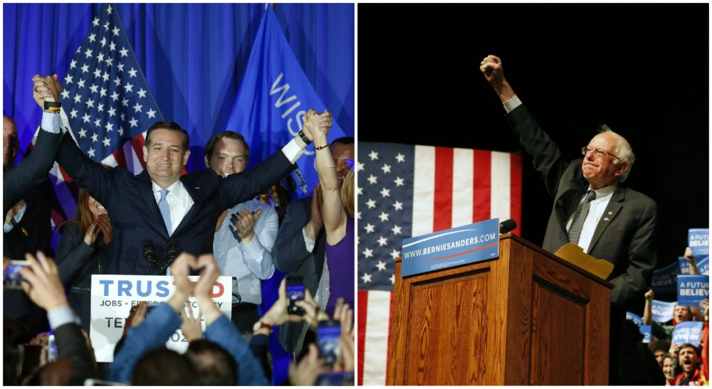 L-R, Republican presidential candidate Sen. Ted Cruz in Milwaukee; Democratic presidential candidate Sen. Bernie Sanders in Laramie, Wyo. Both photos taken Tuesday, April 5, 2016. (AP)