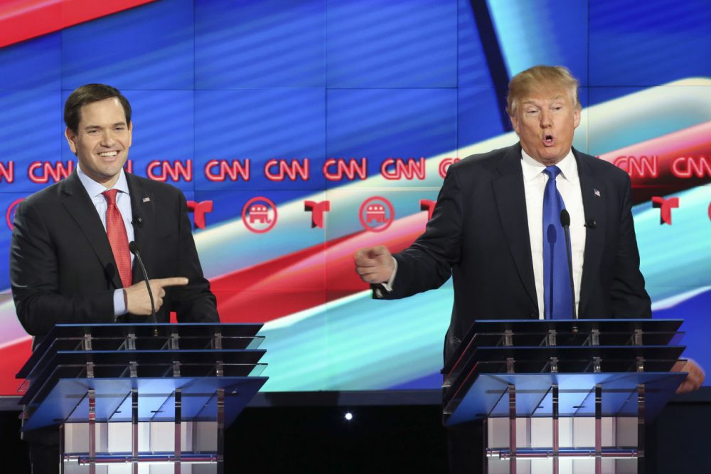 Republican presidential candidate, Sen. Marco Rubio (R-FL) reacts to a point by Donald Trump during the Republican presidential debate at the Moores School of Music at the University of Houston on February 25, 2016 in Houston, Texas. (Michael Ciaglo-Pool/Getty Images)