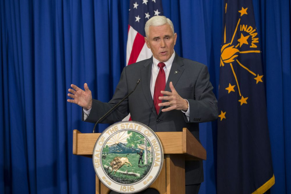"Women are trolling Indiana Gov. Mike Pence in a social media campaign called ""Periods for Pence,"" to protest a recent abortion law, that would require women to cremate or bury fetal remains.  (Aaron P. Bernstein/Getty Images)"