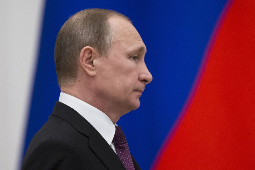 Russian President Vladimir Putin attends a state awards ceremony at the Kremlin in Moscow, on March 10, 2016. (Pavel Golovkin/AFP/Getty Images)