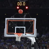 HOUSTON, TEXAS - APRIL 04:  The ball shot by Kris Jenkins #2 of the Villanova Wildcats is seen before it becomes the game-winning three pointer to defeat the North Carolina Tar Heels 77-74 in the 2016 NCAA Men's Final Four National Championship game at NRG Stadium on April 4, 2016 in Houston, Texas.  (Photo by Ronald Martinez/Getty Images)