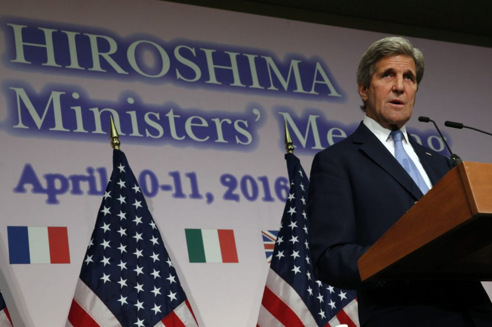 """US Secretary of State John Kerry speaks during a press conference at the conclusion of the G7 Foreign Ministers' Meetings in Hiroshima on April 11, 2016. Kerry said on April 11 he was """"deeply moved"""" by his visit earlier in the day to the Hiroshima atomic bomb memorial in the Japanese city.   / AFP / POOL / JONATHAN ERNST        (JONATHAN ERNST/AFP/Getty Images)"""