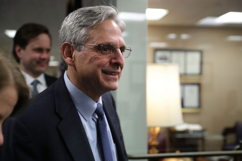 Supreme Court nominee Merrick Garland, chief judge of the D.C. Circuit Court, arrives for a meeting with U.S. Sen. Dianne Feinstein (D-CA) April 6, 2016 on Capitol Hill in Washington, D.C. Garland continued to place visits to Senate members after he was nominated by President Barack Obama to succeed the late Justice Antonin Scalia. (Alex Wong/Getty Images)