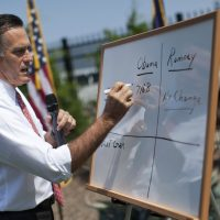In this Aug. 16, 2012 file photo, then-Republican presidential candidate and former Massachusetts Gov. Mitt Romney writes on a white board as he talks about health care reform during a news conference in Greer, S.C. (Evan Vucci/AP)