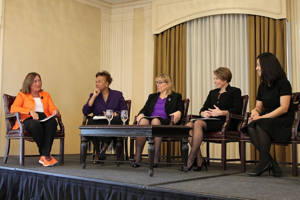 "Treasurer Deb Goldberg moderated a ""Women in Government"" panel as part of an Equal Pay Day conference at the Omni Parker House on Tuesday featuring Cambridge Mayor Denise Simmons, Senate Ways and Means Chairwoman Karen Spilka, Attorney General Maura Healey and Boston City Council President Michelle Wu. (Antonio Caban/SHNS)"