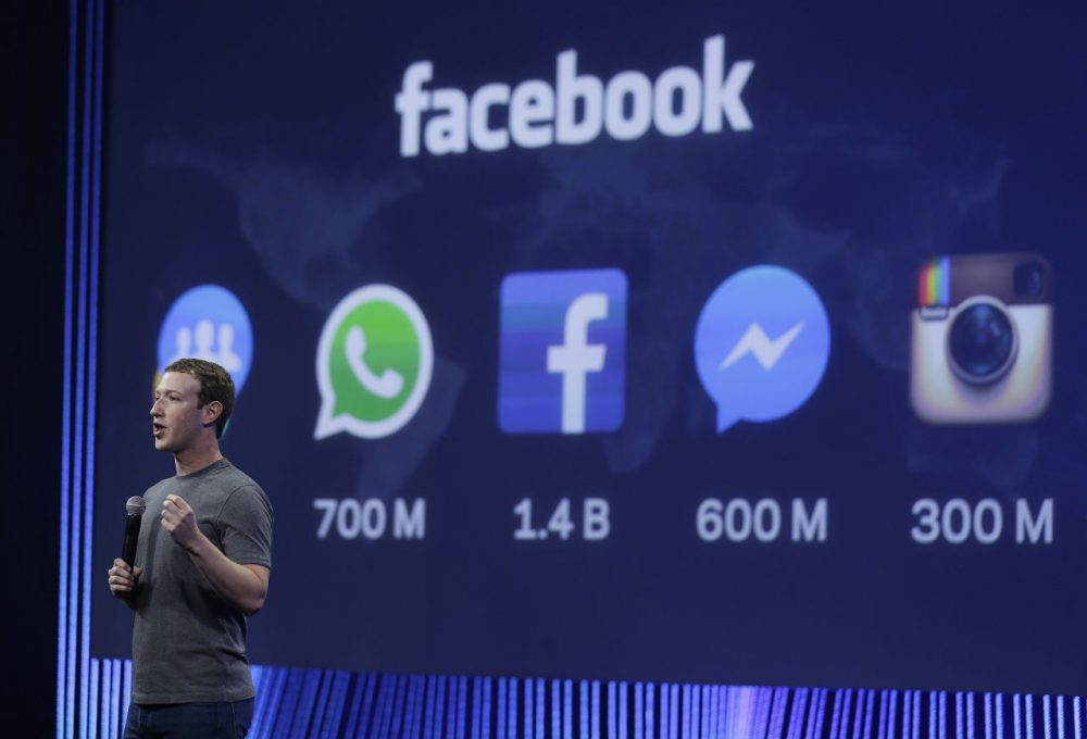 Facebook CEO Mark Zuckerberg gives the keynote address during the 2015 Facebook F8 Developer Conference in San Francisco. (Eric Risberg/AP)